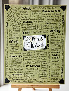100 things I love :) This would make me so happy to look at every day, especially if it was near my desk where I'm likely to get stressed.