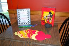 """Mickey-shaped paper for people to write """"notes of cheer"""" to the birthday boy (inspired by another Pinterest user)"""