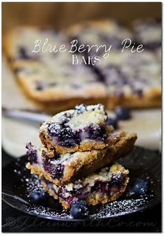 Blueberry Pie Bars {Recipe} Oh my. These are good. I made the recipe as written, but took them out between 40-50 minutes. A great summer recipe!