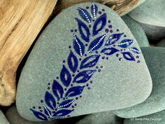 indigo leaves / painted stones / painted rocks / paperweights