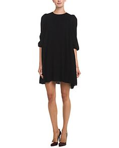 RED Valentino Black Swing Wool Dress