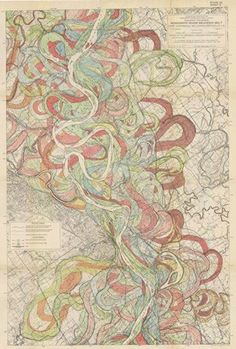 Harold Fisk's 1944 alluvial maps of the Lower Mississippi River Valley for the Army Corps of Engineers. There were 15 giant plates in total, tracing the meanders and oxbow bends of the Mississippi back hundreds of years. Mississippi, Art Carte, Army Corps Of Engineers, Old Maps, Vintage Maps, Antique Maps, Vintage Travel, You Draw, Maputo