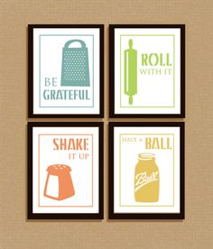 Set of 4 clever illustrated kitchen sayings