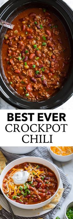 Slow Cooker Chili BEST EVER! One of my all time most popular recipes and for good reason! This is the best chili around and a long time family favorite! Its the perfect comforting soup. Perfect over baked potatoes too. - Slow Cooker - Ideas of Slow Cooker Chilli Recipes, Beef Recipes, Soup Recipes, Cooking Recipes, Chili Recipes With Beef, Healthy Chili Recipes, Slow Cooker Recipes Family, Canned Tomato Recipes, Recipies