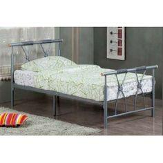 Melrose 3ft Single Silver Metal Bed Frame