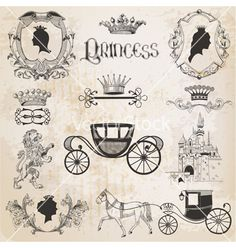 Vintage princess girl set vector - by woodhouse84 on VectorStock®