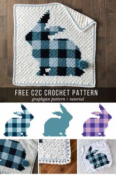 The colors in this plaid corner to corner crochet bunny blanket free pattern are easily customizable or crochet the entire rabbit in a solid color for a more beginner-friendly project. Perfect for an baby nursery or Easter gift! Crochet Afghans, Crochet C2c, Motifs Afghans, Crochet Baby Blanket Free Pattern, Easter Crochet Patterns, Afghan Patterns, Crochet Bunny, Crochet Patterns For Beginners, Crochet For Kids