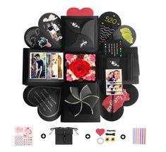 YeeStone Explosion Box Creative DIY Photo Album Scrapbooking Gift Box for Birthday, Valentine,Anniversary, Wedding Surprise Box Gift, Diy Gift Box, Diy Box, Small Gift Boxes, Black Gift Boxes, Small Gifts, Scrapbook Box, Photo Album Scrapbooking, Polaroid Foto