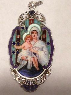 Antique Sterling Silver Enamel Madonna Pendant Stain Glass Cloisonne' Charm Vtg