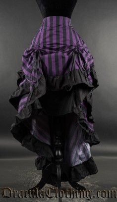Purple Striped Layer Bustle Skirt