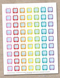 TV Set Instant Download Printable Planner Stickers Television Design PDF