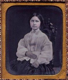 I luv the sheer overblouse this young lady from the 1840s is wearing, but I don't know what it properly should be called. It is not a bodice, a waist, a pelerine, a berthe. I don't know, but if I had it, I'd wear it. If you look closely you will see she is wearing a chemisette under her bodice, and, of course, a ring on her forefinger.