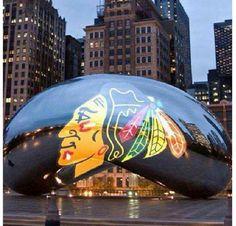 Stanley Cup Champion Chicago Blackhawks June, 2013.  Millenium Park bean.