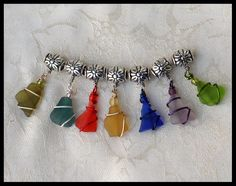 Six Rare Sea Glass Charms for Pandora Style by oceansbounty