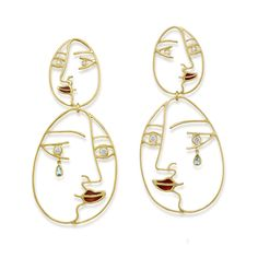 Untitled Collection Amsterdam Sauer | Visage Earrings Earings Gold, Drop Earrings, Jewelry Art, Fashion Jewelry, Silk Thread, Thesis, Creative Design, Amsterdam, Swarovski Crystals