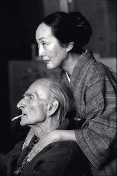 last-picture-show: Henri Cartier-Bresson, The Painter Balthus and his wife Setsuko in their wooden hut of Rossiniere, Switzerland, 1998