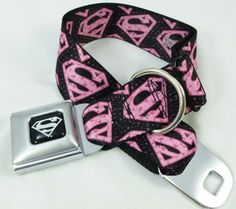 Pink and Black Superman Logo Seat Belt Buckle Dog Collars - The perfect Pet Supplies for your devoted Dogs.