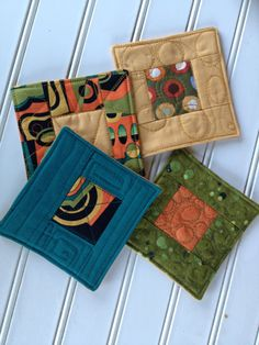 Modern patchwork quilted coaster for Autumn or Fall. $14.00, via Etsy.  RoJenDesigns.com