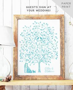Watercolor Guest Book Tree Wedding Guest by MissDesignBerryInc
