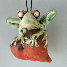Frog Hanging on Heart Ceramic Sculpture by RudkinStudio on Etsy, $42.00
