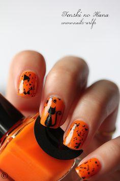 Halloween Orange w/ Black Cat Nail Art