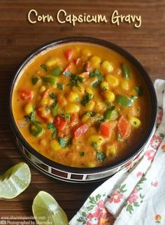 Corn Capsicum Masala is a great sidedish for phulka /chapathi or even for mild pulaos.We all love sweet corn so anything made with it a win. Corn Curry Recipe, Curry Recipes, Vegetarian Recipes, Cooking Recipes, Sabzi Recipe, Masala Recipe, Momos Recipe, Dosa Recipe, Biryani Recipe