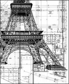 La Tour Eiffel (plan) Architecte : Gustave Eiffel & Cie Paris c. Art Et Architecture, Architecture Details, Chinese Architecture, Installation Architecture, Classic Architecture, Ing Civil, Construction Drawings, Construction Process, Civil Engineering