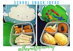 Breakfast/snak ideas list for kids! - The Smell of Mommy Strawberry Jam, School Snacks, Brie, Apple Pie, Biscuits, Lunch Box, Toast, Cheese, Chicken