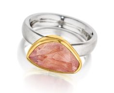 Symmetry: Gold & Sterling Silver Ring with Pink Tourmaline Greek Jewelry, Gold Jewelry, Jewelry Rings, Jewellery, Gemstone Colors, Gemstone Rings, Pink Tourmaline Ring, Sterling Silver Rings, Handmade Jewelry