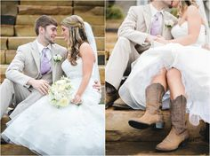 Bride in cowgirl boots, such a cute idea to wear on the wedding day, and comfortable too! Country wedding ideas - you'll love everything about this wedding! #cowgirl #countrry #wedding