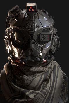 helmet warrior fighter robot suit concept art design
