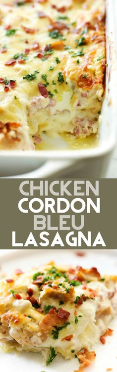 This Chicken Cordon Bleu Lasagna is a creamy and delicious meal that will become an instant family favorite! It is loaded with chicken, ham, bacon and a tasty cream cheese sauce that will blow your mind! (cooking a ham bacon) Chicken Cordon Bleu Lasagna, Chicken Cordon Blue Casserole, White Chicken Lasagna, Chicken Ham, Chicken Recipes, Lasagna Recipes, Dog Recipes, Beef Recipes, Lasagna Food