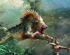 Nemean Lion by Ryan Barger Mystical Animals, Mythical Creatures Art, Alien Creatures, Mythological Creatures, Strange Animals, Strange Beasts, Sea Creatures, Monster Concept Art, Monster Art