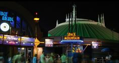Space mountain at night