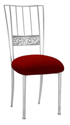 d005f1101f Silver Bella Fleur with Red Velvet Cushion (2) Bistro Chairs