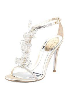 Lace T-Strap Sandal by Renee Caovilla at Bergdorf Goodman.