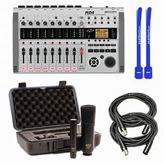 Zoom R24 24-Track Recorder Interface Controller Sampler w/ MXL 440/441, XLRs & Cable Ties