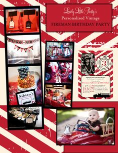 Personalized Printable Vintage Fireman Party by lovelylittleparty
