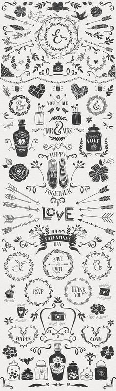 Hand-drawn Romantic Decoration Pack   -   https://www.designcuts.com/product/hand-drawn-romantic-decoration-pack/