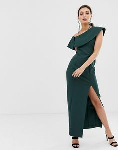 c69a20e8c77 River Island maxi dress with leg split in green