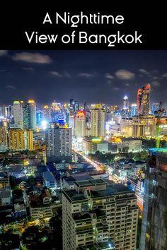 A long-exposure nighttime view of Bangkok, Thailand, from high above the city. Bangkok Hotel, Bangkok Travel, Thailand Travel, Bangkok Thailand, Thailand Destinations, Holiday Destinations, Vacation Destinations, Vacations, Thailand Shopping