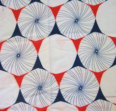 Vintage 1960s Mod Fabric-Sheer Polyester Crepe-Geometric Pinwheels- 2 yards