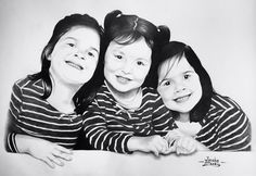 Triple retrato a grafito