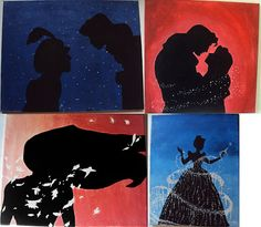 Disney silhouettes - Pocahontas - Aladdin - Cinderella - Beauty & the Beast