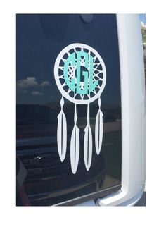 Monogrammed decal for car windows, binders, computers, cups, mirrors and more! This listing is for one monogram decal and dreamcatcher decal. Customizable with your choice of two colors and font. Pers