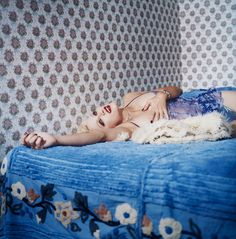 View Madonna Blue Laying on a Blue Bed, New York, September 1994 By Bettina Rheims; Madonna 90s, Madonna Photos, Red Rooms, Blue Bedding, Retro Aesthetic, Bedtime Stories, French Artists, Female Portrait, Artists