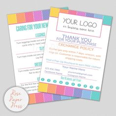 Thank You Cards, Polka Dots   Custom Printable Card   Care Card, Care Instructions, Return Policy, Punch Card by RosePaperPress on Etsy