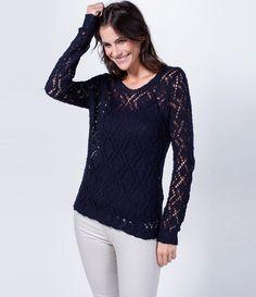 Blusa feminina  Manga longa  Ponto aberto  Marca: Marfinno  Tecido: retilínea  Composição: 100% algodão  Modelo veste tamanho: P    Veja outras opções de    blusas femininas.