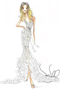 @brides my favorite designer sketches by #Theia for #DrewBarrymore's Wedding Dress: perfect for her!