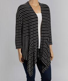 Black & White Stripe Open Cardigan - Plus #zulily #zulilyfinds